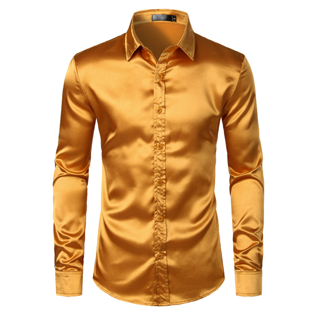 Men's Black Satin Luxury Dress Shirts 2019 Silk Smooth Men Tuxedo Shirt Slim Fit Wedding Party Prom Casual Shirt Chemise Homme 9
