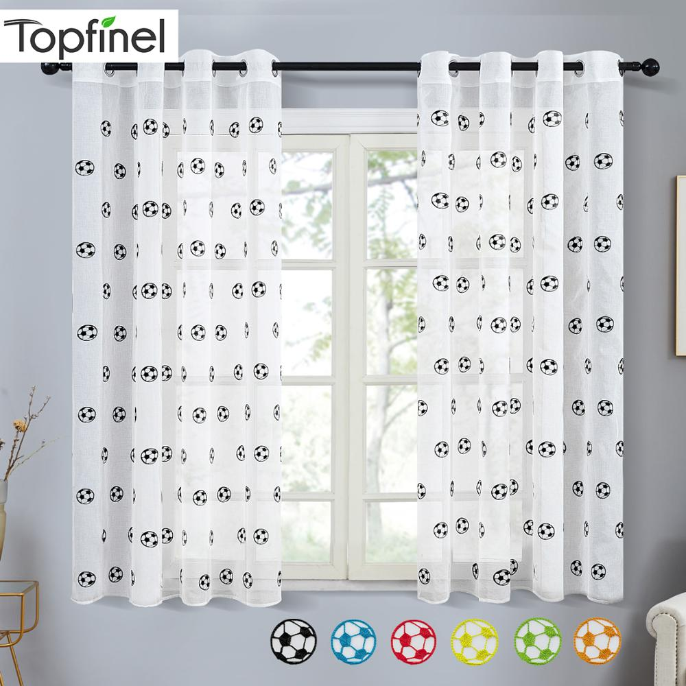 Topfinel Short Sheer Curtains for Living Room Bedroom Child Kids Room Embroidered Football Tulle Window Treatment Drapes