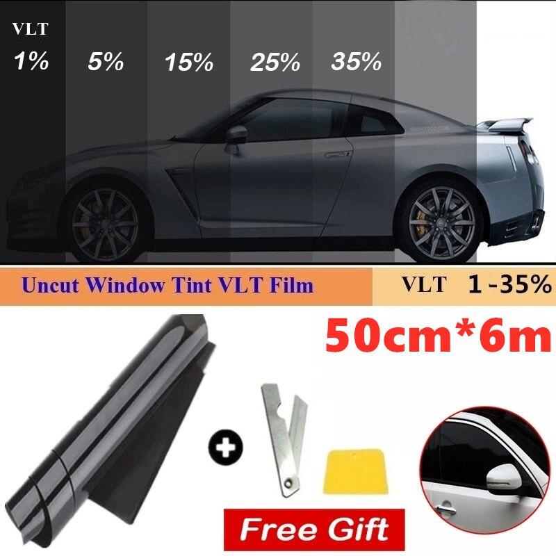 50cmX6m 1/5/15/25/35/50 процентов VLT цветные плёнки на окна Стекло Стикеры солнцезащитный козырек от солнца для автомобиля Защитная крышка для УФ-накл...
