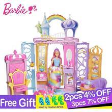 Original Barbie Seriesand Shine Girls Boneca Brinquedos Beautiful Princess Castle Dream Toys for Children Dolls Furniture Gifts цена 2017