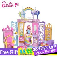 Original Barbie Seriesand Shine Girls Boneca Brinquedos Beautiful Princess Castle Dream Toys for Children Dolls Furniture Gifts