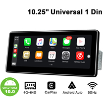 "10.25 ""Single Din Android10 autoradio Stereo GPS DSP SPDIF Carplay 4G SIM 5GWiFi Subwoofer uscita ottica Topslink schermo diviso"