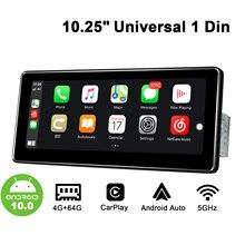 "10.25 ""simple Din Android10 autoradio GPS DSP SPDIF Carplay 4G SIM 5GWiFi Subwoofer sortie optique Topslink écran divisé"