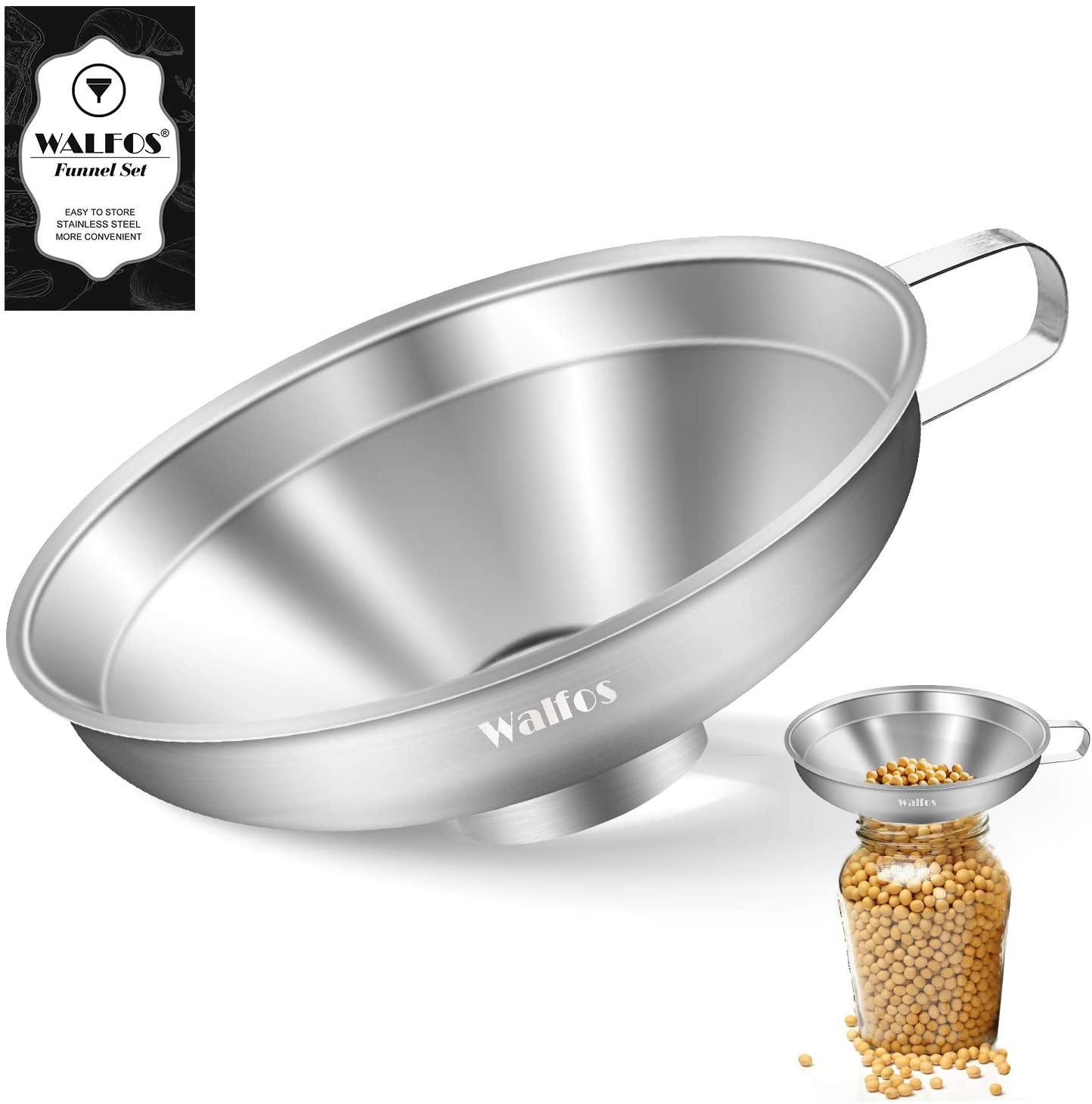 WALFOS High Quality Stainless Steel Funnel Wide Mouth Funnel For Oil Wine Canning Cooking Kitchen Garden Accessiores Tool
