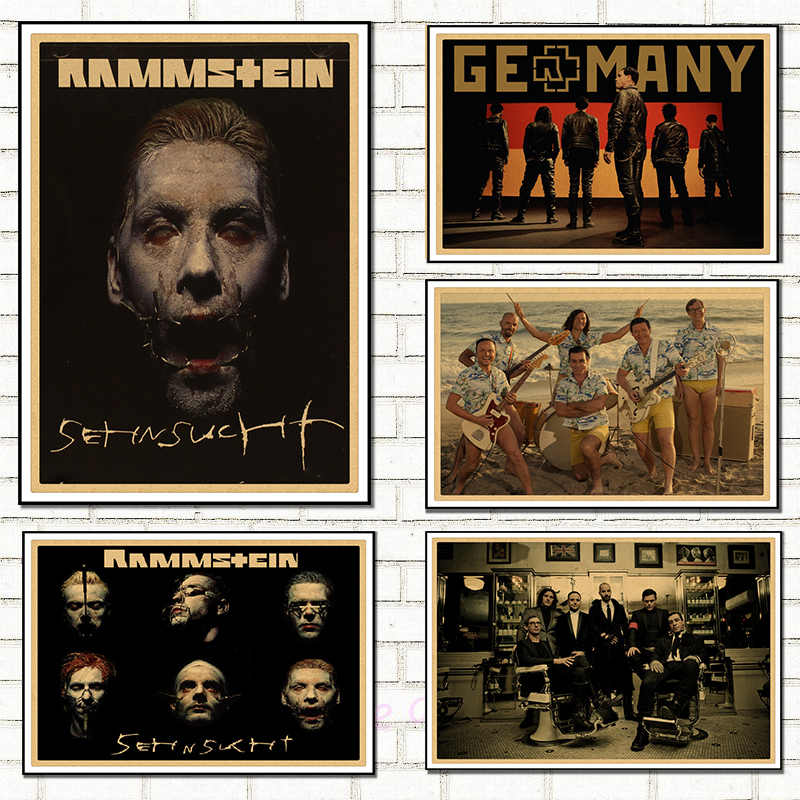 Rammstein German Chariot vintage Kraft paper poster, rock bar, room decoration,decorative painting,Wall Sticker buy 3 get 4
