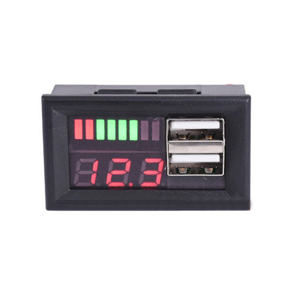 12V Lead Acid Battery Capacity Indicators Voltage Panel Meters USB Charger Cars