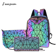 Women Backpack Clutch Geometric Holographic Bags Schoolbag Foldable Ladies No Pu