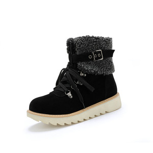 Image 5 - YMECHIC 2019 Yellow Army Green Black Winter Snow Boots Women Lace Up Platform Buckle Plush Punk Shoes Gothic Ankle Combat Boots