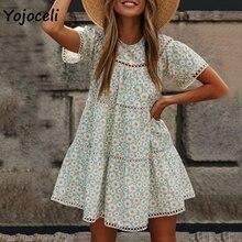 Yojoceli boho beach floral print dress women hollow out beach dress