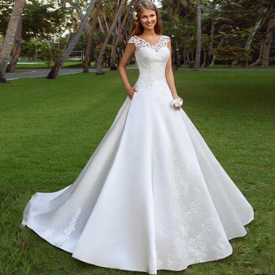 Glamorous Satin Scoop Neckline A-line Wedding Dresses With Lace Applique Lace-up Court Train Bridal Dress Свадебное платье