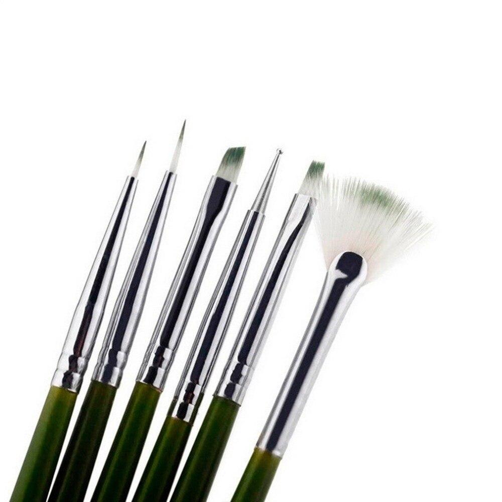 6 Sets Of Nail Brush Handle Nail Art Acrylic UV Gel Extension Brush Flower Design Drawing Painting Pen Set