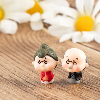 1 Pair Kawaii Cute Grandfather Grandmother Miniature Crafts Old Couple DIY Crafts Home Garden Ornaments Micro Landscape image