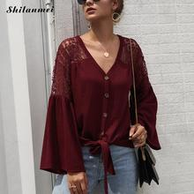 2019 Ladies Shirt V-Neck Button Knitted Shirts Women Lace Blouse Flare Long Sleeve Autumn Casual Lace-Up Streetwear Hollow Shirt button up dolman sleeve shirt