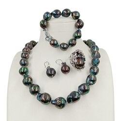 Большой хорошее качество черный барокко ювелирный набор, 100% пресноводный барокко жемчужное ожерелье и браслет, кольцо и серьги, L 20-32 мм