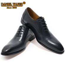 LUXURY BRAND OXFORDS MEN GENUINE LEATHER SHOES LACE UP OFFICE WORK WEDDING SHOES BROGUES FORMAL POINTED TOE OXFORDS BLACK SHOE