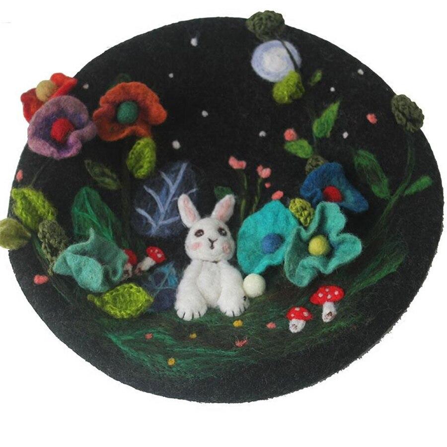 Mysterious Jungle Wool Beret Cap Ladies Hand Embroidered Korean Winter Warm Berets Hat Women Cute Rabbit Christmas New Year Hats - 6