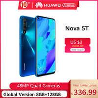 In lager Globale Version Huawei Nova 5 T 5 T 8GB 128GB Smartphone 48MP Kameras 32MP Vorne Kamera 6.26 ''bildschirm Kirin 980 Android 9