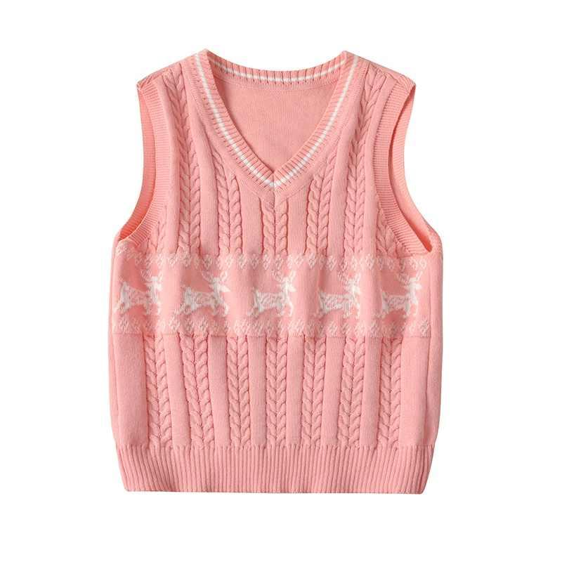 子供少年ベスト鹿プリント子供キッズボーイズ V ネックチョッキファッション制服キッズボーイズニットベストコートクリスマスセーター