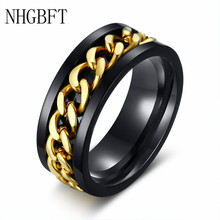 NHGBFT 8mm Mens Spinner Ring Stainless steel black blue color Reliever Ring punk jewelry Dropshipping nhgbft punk style tire spinner chain rings for mens stainless steel black color biker ring male jewelry
