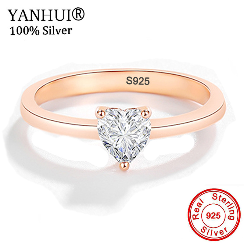 HOT SALE 925 Sterling Silver Heart Clear CZ White Gold/Gold/Rose Gold Color Rings For Women Engagement Wedding Jewelry JZ222