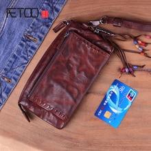 AETOO Genuine Leather Men Wallet Vintage Men's Long Zipper Vegetable Tanned Cowhide Clutch Bag Wallets Card Holder Male