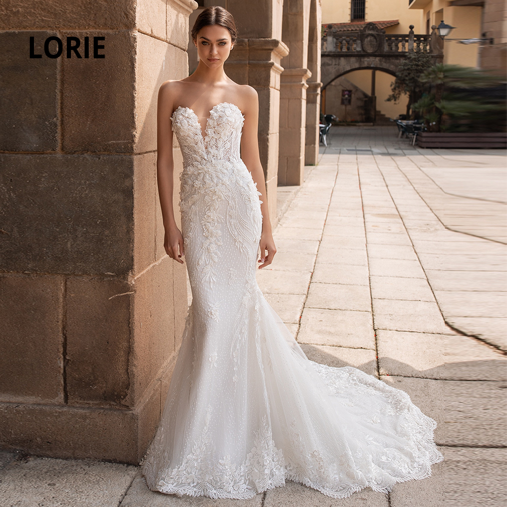 LORIE Sleeveless Lace Appliqued Wedding Dress With Mermaid Cut, Sweetheart Neckline And Open Back With Long Train Plus Size