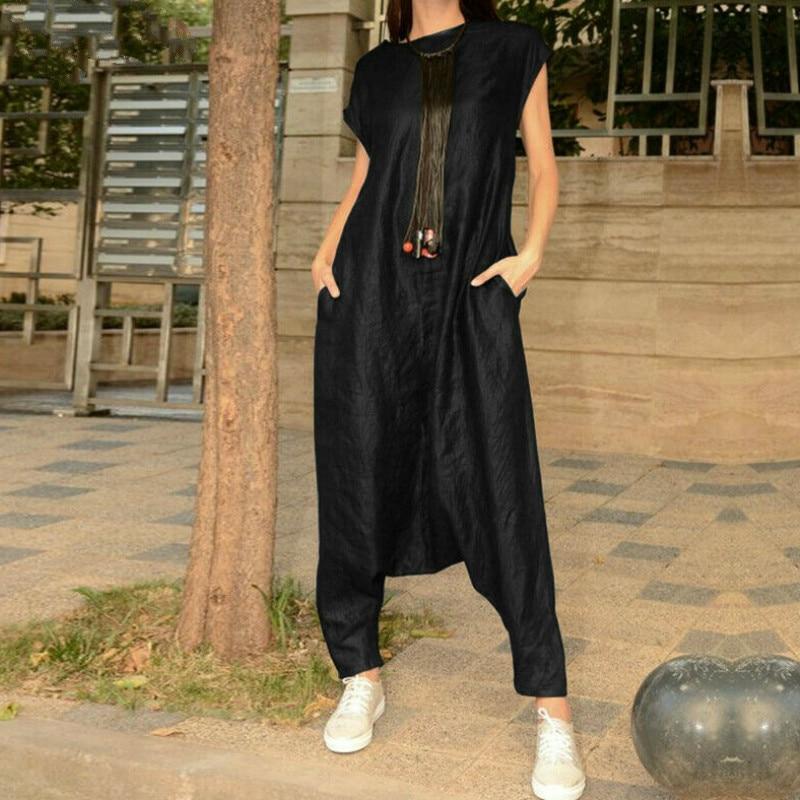 Women Autumn Casual Loose Jumpsuits Hip Pop Short Sleeve Romper Harem Style  Overalls