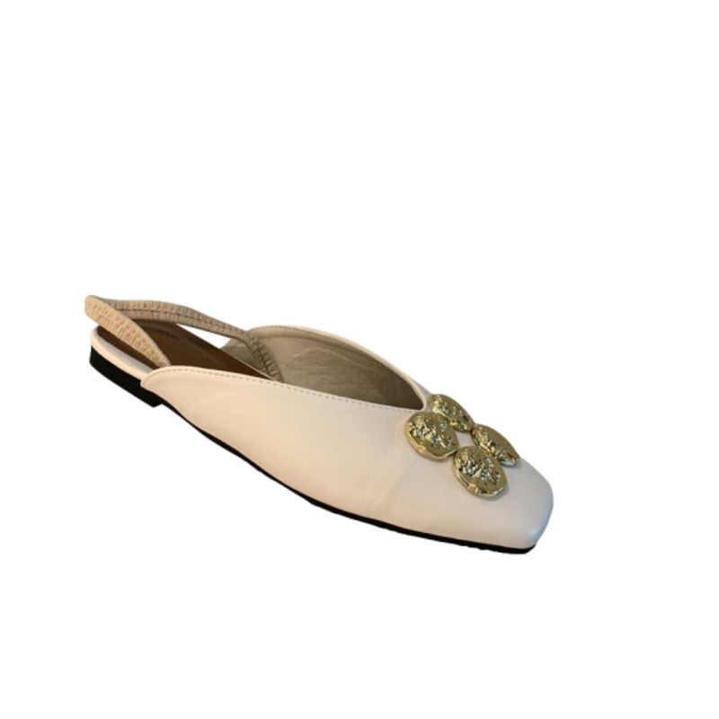 Kadın katır 2020 moda terlikler Metal deri daireler üzerinde kayma siyah kare ayak bayanlar rahat ayakkabılar plaj kadın seksi terlik
