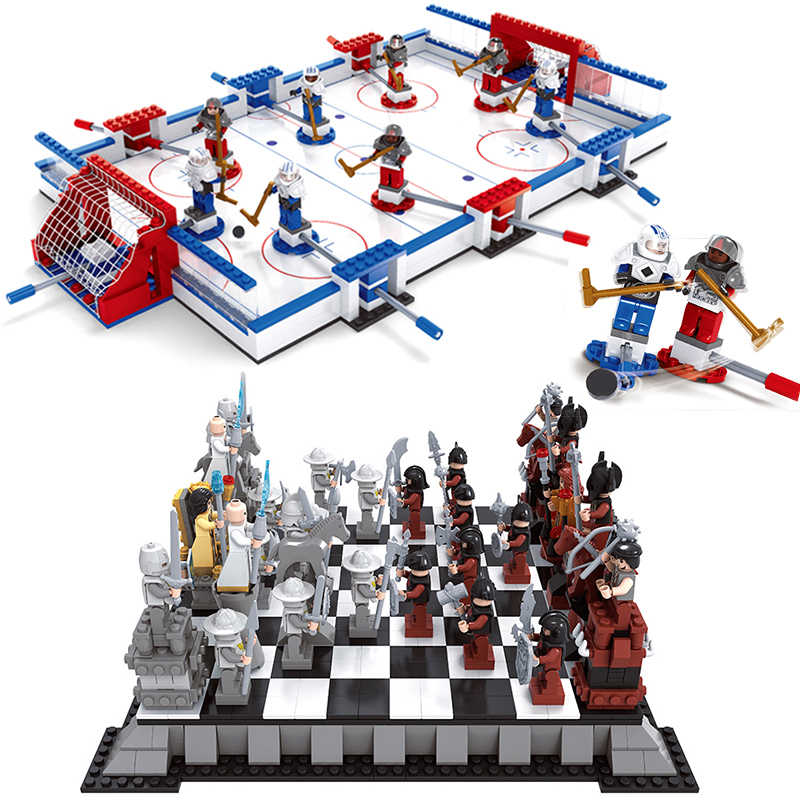 Hockey Rink Kingdoms Chess Set Compatible Legoed City Sports Field Plarers Figures Games Buildings Blocks Bricks Kits Toys
