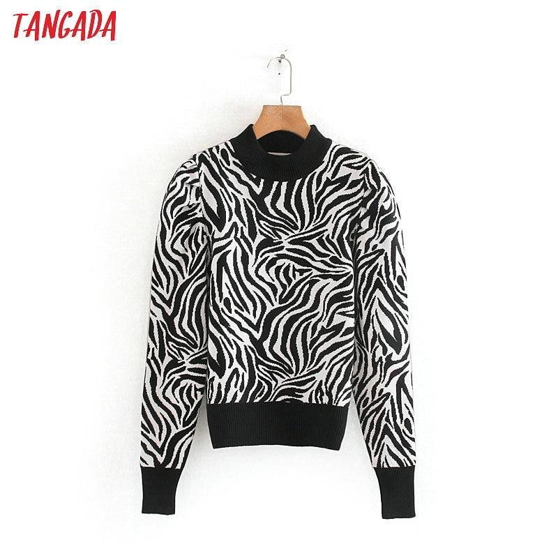 Tangada Women Animal Pattern Stretch Jumper 2019 Winter Long Sleeve Female Sweater Knitwear Tops 2W18
