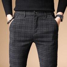 2020 pantaloni Casual da uomo di lusso autunnali pantaloni spessi in cotone e lino da uomo pantaloni dritti Business Plus Size 38