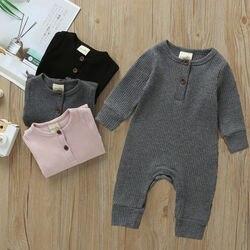 Хлопчатобумажный комбинезон для новорожденных мальчиков и девочек, трикотажный ребристый комбинезон, однотонная теплая одежда, весна-осен...