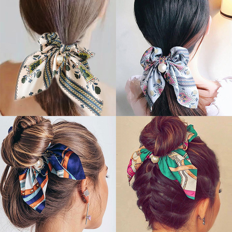 New Women Elegant Vintage Print Bow Knot Pearls Elastic Hair Bands Sweet Headband Rubber Band Scrunchie Fashion Hair Accessories