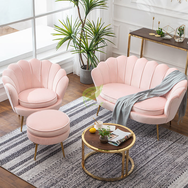 Pink Golden Iron Metal Velvet Royal Crown Single Double Three-seat Sofa Dressing Chair Coffee Living Room Garden Princess Prince