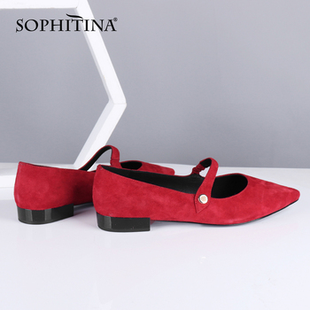 SOPHITINA Buckle Flats Shoes Women High Quality Fashion Pointed Toe Spring Kid Suede Shallow Flats Low Heels Casual Shoes SC715