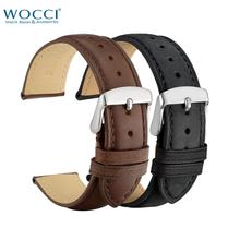 WOCCI Leather Watch Strap 22mm Man Women Brand New Watchband 20mm 24mm 18mm Band Belt Bracelet Silver Rose Gold Black Buckle недорого