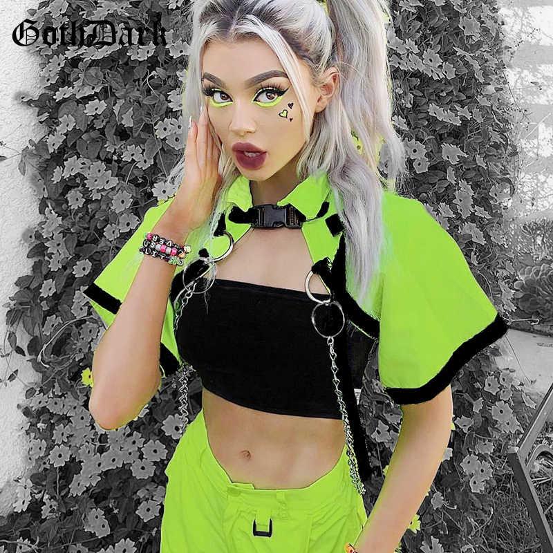 고스 다크 고딕 스타일 더클 여름 2020 체인 셔츠 캐주얼 짧은 지퍼 패션 소녀 턴 다운 칼라 추천 여성 셔츠