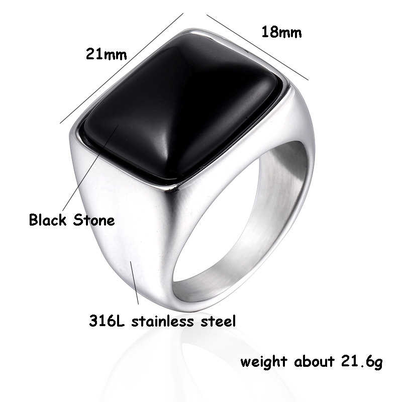 Square Hitam Batu Pria Cincin Segel Warna Emas Perak Titanium Stainless Steel Pria Cincin Perhiasan Punk Hip Hip DCR100