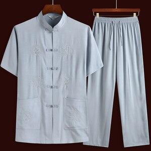 Мужской Восточный традиционный костюм в стиле династии Тан, китайский кунг-фу, футболка, штаны, комплект одежды, униформа Тай-Чи, льняная блу...