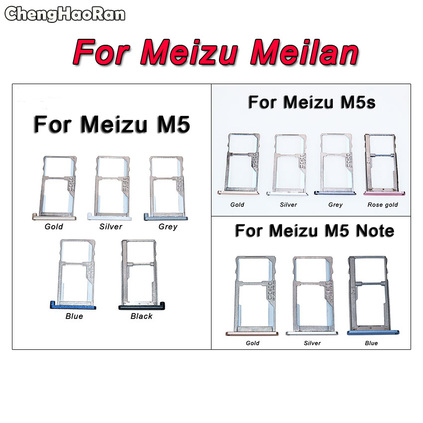ChengHaoRan For MEIZU M5 M5S M6 Note SIM Card Tray Holder Replacement Parts SIM Card Slot Holder Adapters For Meilan 5 5s 6