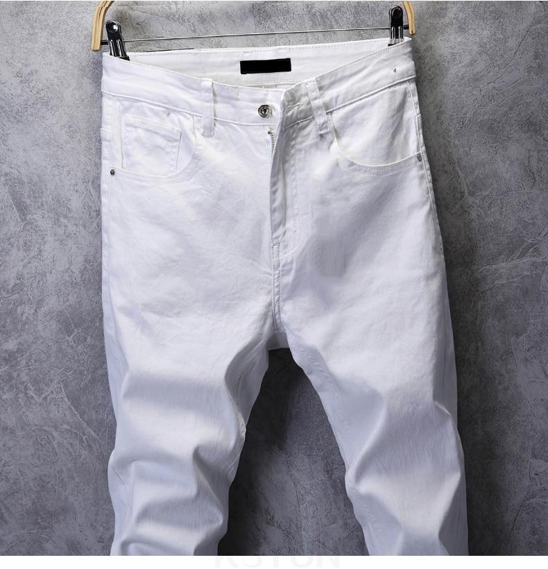 KSTUN Skinny Jeans Men Solid White Mens Jeans Brand Stretch Casual Men Fashioins Denim Pants Casual Yong Boy Students Trousers Cowboys 13