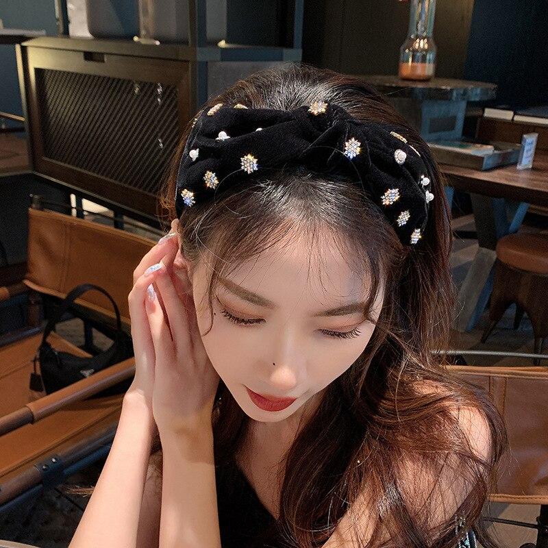 1 шт модные женские повязки для волос бархатные жемчужные стразы