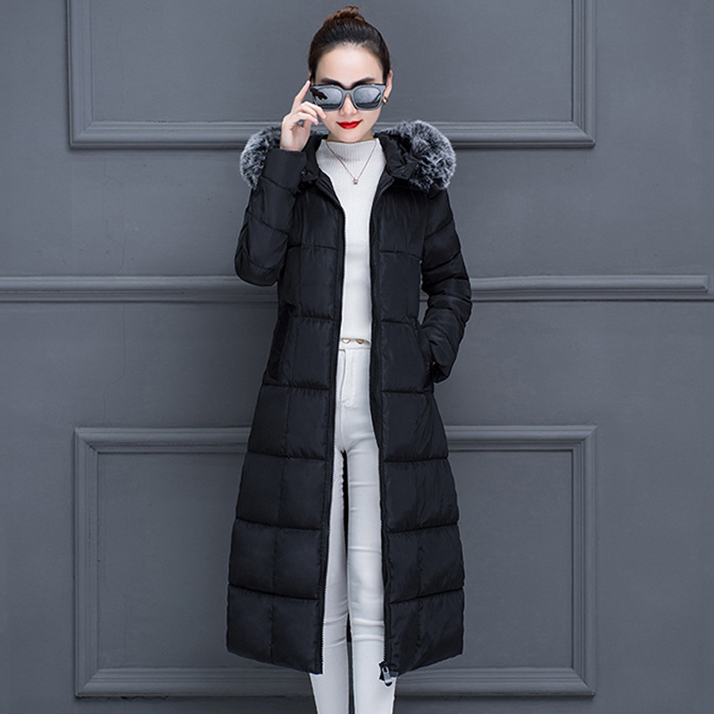 Plus Size X-long Hooded Parka Women Office Lady Outwear Cotton Padded Jackets Fur Collar Slim Thick 2020 Winter Warm Coats