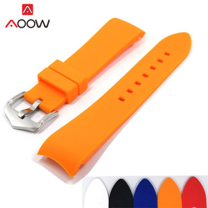 18mm 20mm 22mm 24mm Soft Silicone Strap Universal Elbow Arc Rubber Band Sport Waterproof Replacement Bracelet Watch Accessories(China)