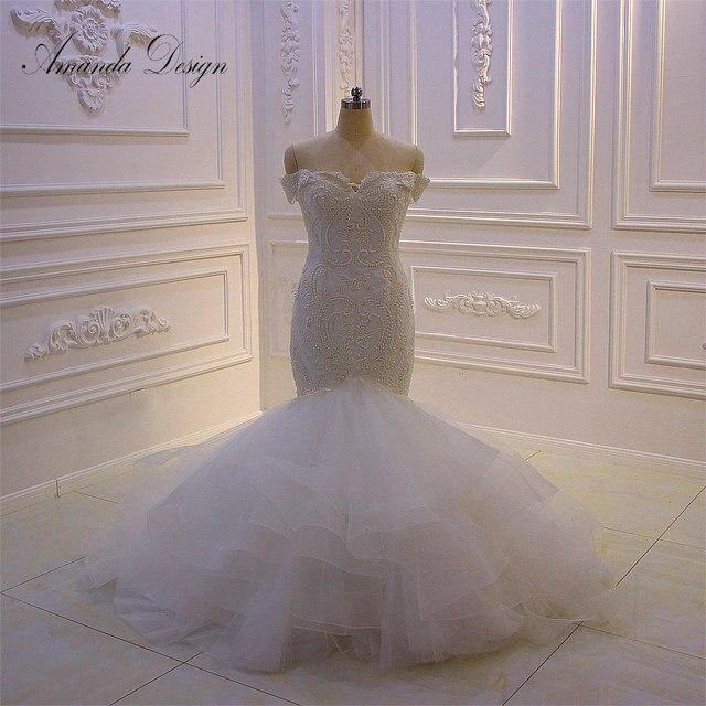 Amanda Design bruidsjurken Off Schulter Spitze Applique Meerjungfrau Hochzeit Kleid