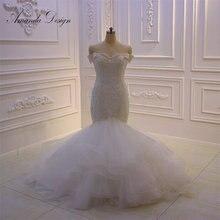 Amanda ออกแบบ bruidsjurken ปิดไหล่ลูกไม้ Applique แต่งงานชุดเมอร์เมด