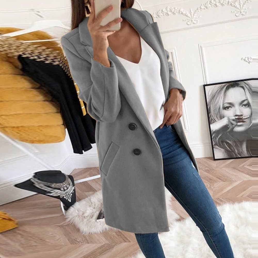 2019 neue Frauen Lange Wolle Mischung Mantel Herbst Winter Slim Fit Jacke Damen Mujer Mode drehen-unten Kragen Solide casaco Feminino