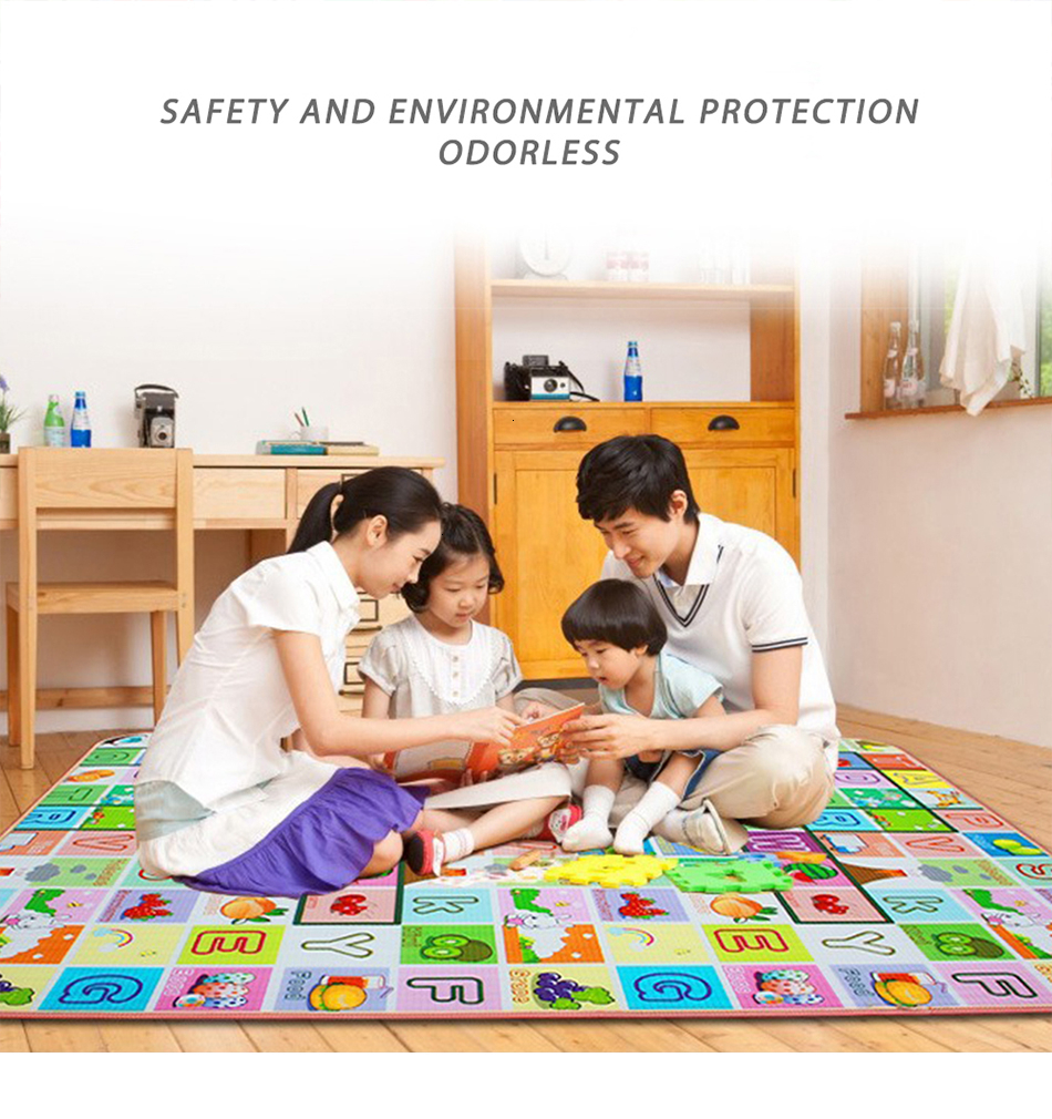 H001c72dcdca44e14819ea4b3f5f2ef68r Baby Play Mat 0.5cm Thick Crawling Mat Double Surface Baby Carpet Rug Puzzle Activity Gym Carpet Mat for Children Game Pad