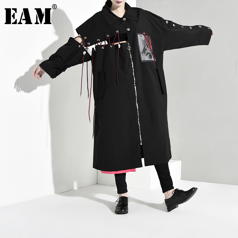 [EAM] Women Hollow Out Bandage Big Size Long Trench New Lapel Long Sleeve Loose Fit Windbreaker Fashion Autumn Winter 2019 1B064
