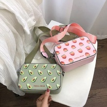 Fruit Avocado Handbag Small Box Shape Shoulder Bag Strawberry Crossbody
